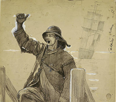 Winslow Homer Drawing - The Lookout by Winslow Homer
