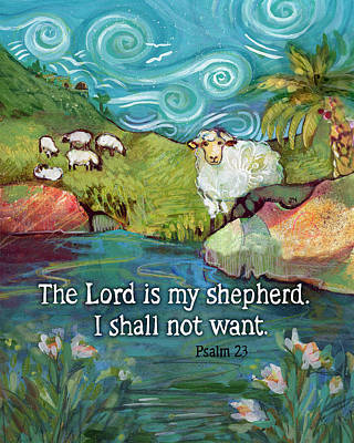 Animals Paintings - The Lord is My Shepherd by Jen Norton
