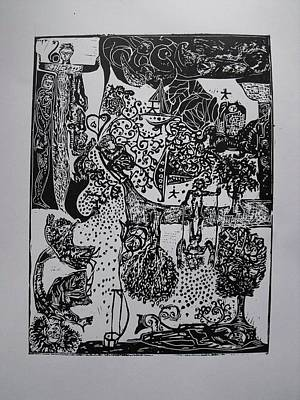 Lino Cut Drawing - The Lord Of The Puppets by Eva Darmo