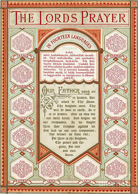 Christianity Drawing - The Lord's Prayer In 14 Languages by English School