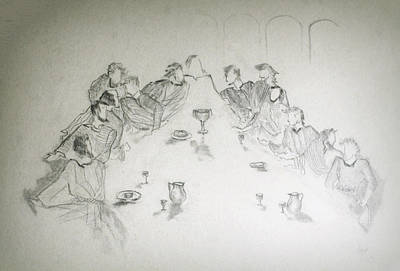 Communion Drawing - The Last Supper by Rayla Noel
