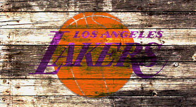 La Lakers Mixed Media - The Los Angeles Lakers 2w by Brian Reaves