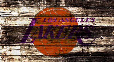 La Lakers Mixed Media - The Los Angeles Lakers 3w by Brian Reaves