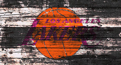 La Lakers Mixed Media - The Los Angeles Lakers W1 by Brian Reaves