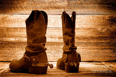 Photograph - The Lost Boots - Sepia by Olivier Le Queinec