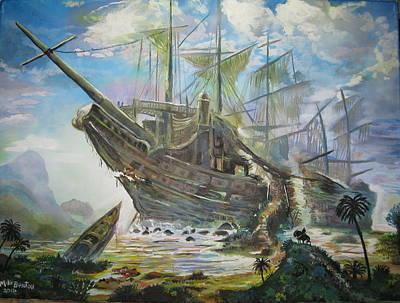 Painting - The Lost Ship by Mike Benton