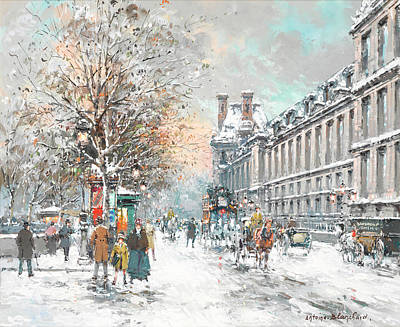 Louvre Painting - The Louvre-winter by Antoine Blanchard
