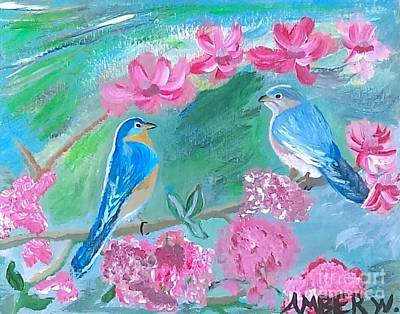 Animals Paintings - The Love Birds by Just Another-Bird