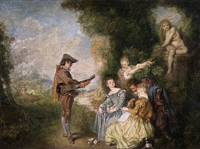 Musician Painting - The Love Lesson by Jean-Antoine Watteau