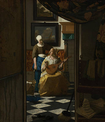 Painting - The Love Letter by Jan Vermeer