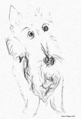 Scotties Drawing - The Love Of A Scottish Terrier by Image Takers Photography LLC - Laura Morgan