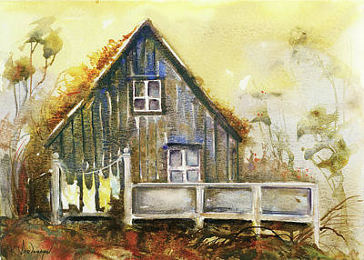 Cabin Wall Painting - The Lovely Cabin by Kristina Vardazaryan