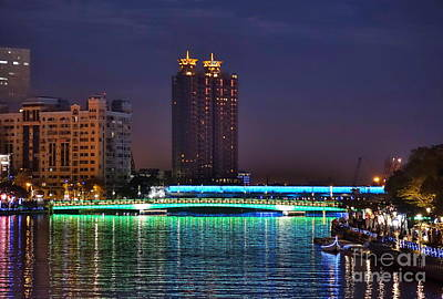 Photograph - The Lover River In Kaohsiung By Night by Yali Shi