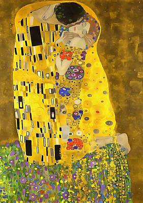 Painting - The Lovers Kiss After Klimt by Tracey Harrington-Simpson