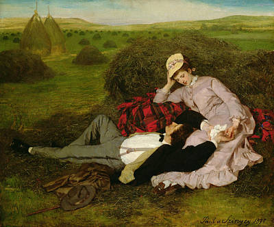 February Painting - The Lovers by Pal Szinyei Merse