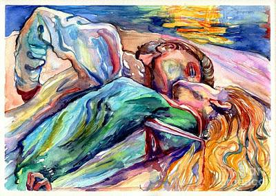 Suicide Wall Art - Painting - The Lovers Watercolor by Suzann's Art