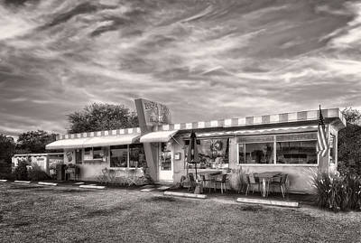 The Lucky Dog Diner At Sunset - 2 Art Print by Frank J Benz