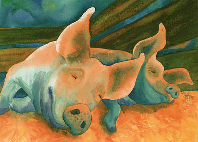Swine Painting - The Lucky Ones by Tracy L Teeter
