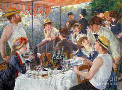Outdoor Painting - The Luncheon Of The Boating Party by Pierre Auguste Renoir