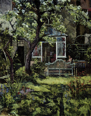 Art In The Garden Painting - The Lutyens Bench by Christopher Glanville