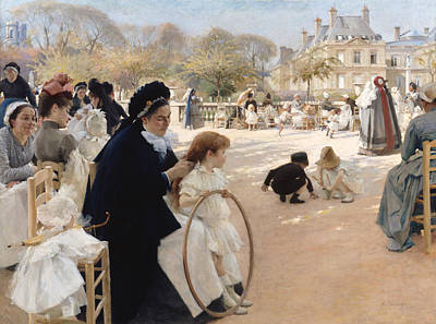 French Cities Painting - The Luxembourg Gardens, Paris by Albert Edelfelt