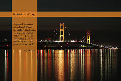Pyrography - The Mackinac Bridge by Douglas Milligan