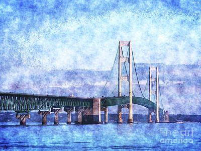 Great Adventure Digital Art - The Mackinac Bridge by Phil Perkins