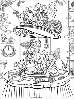 Drawing - The Mad Hatter Shop by Melodye Whitaker