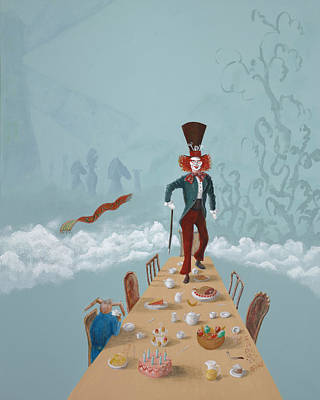 March Hare Painting - The Mad Hatter Tea Party by Joe Odonovan