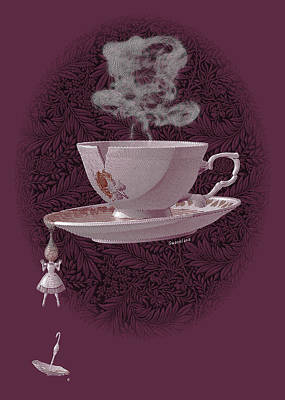 Surrealism Drawing - The Mad Teacup - Rose by Swann Smith