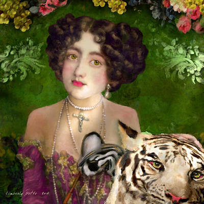 Painting - The Madame Blanchefleur Apolline Brings A White Tiger To The Feast Of The Epiphany by Kimberly Potts