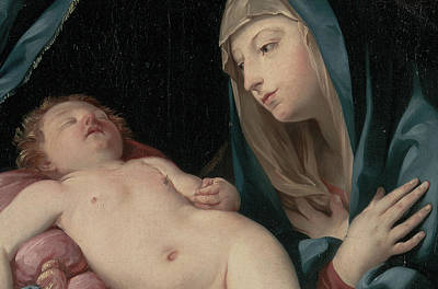 Watching Over Painting - The Madonna Adoring The Sleeping Child by Guido Reni