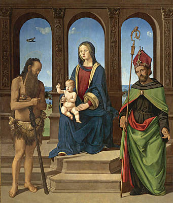 Piero Di Cosimo Painting - The Madonna And Child Enthroned With Saints Onophrius And Augustine by Piero di Cosimo