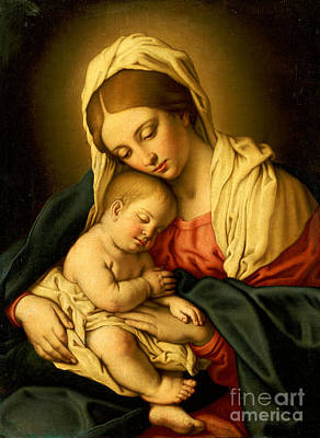 Devotional Painting - The Madonna And Child by Il Sassoferrato