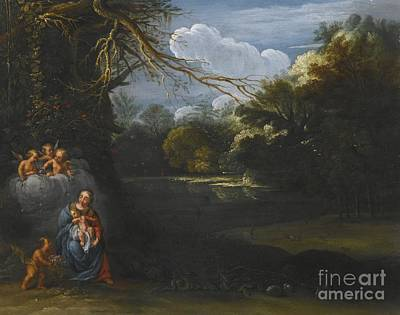 Night Angel Painting - The Madonna And Child In A Landscape by MotionAge Designs