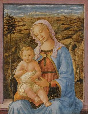 Children Painting - The Madonna And Child Seated On A Window Ledge, A Landscape Beyond by Francesco di Stefano