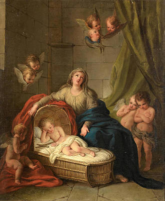 Painting - The Madonna And Child Surrounded By Putti by Charles-Antoine Coypel
