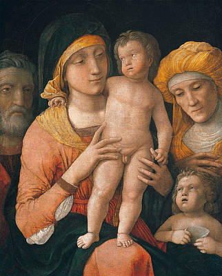 Babe Painting - The Madonna And Child With Saints by Andrea Mantegna