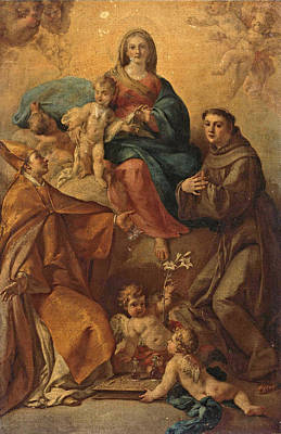 Painting - The Madonna And Child With Saints Anthony Of Padua And Januarius by Fedele Fischetti