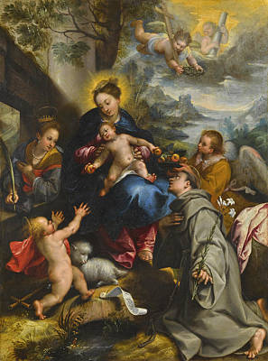 Painting - The Madonna And Child With Saints Catherine, Dominic And The Infant Saint John The Baptist by Denys Calvaert