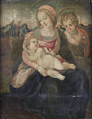 Painting - The Madonna And Child With The Infant Saint John The Baptist Before An Open Landscape by Circle of Francesco del Brina