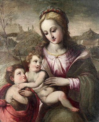 Painting - The Madonna And Child With The Infant Saint John The Baptist by Circle of Francesco del Brina