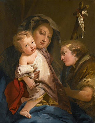 Painting - The Madonna And Child With The Infant St John The Baptist by Giovanni Domenico Tiepolo