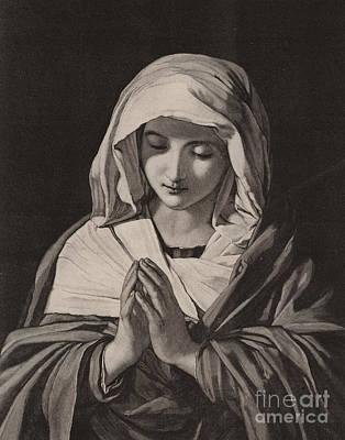 Black Madonna Drawing - The Madonna In Prayer by Il Sassoferrato