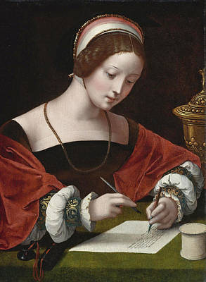 Master Of The Female Half-lengths Painting - The Magdalene Writing A Letter by The Master of the Female Half-lengths