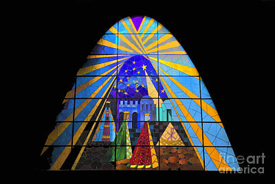 Stained Glass 3 Photograph - The Magi In Stained Glass - Giron Ecuador by Al Bourassa