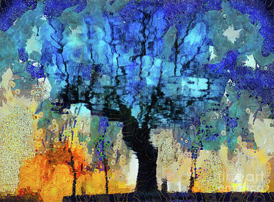 Mixed Media - The Magic Blue Faraway Tree by Daliana Pacuraru