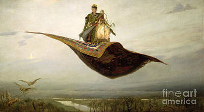 Water Painting - The Magic Carpet by Apollinari Mikhailovich Vasnetsov