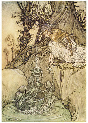 Fantasy Tree Art Painting - The Magic Cup by Arthur Rackman