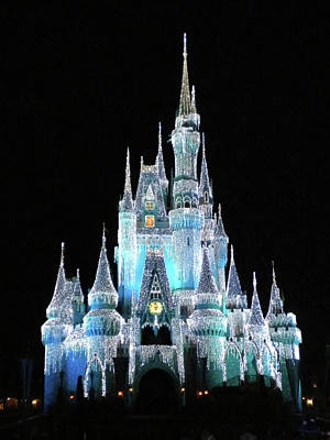 Magician Photograph - The Magic Kingdom Castle In Frosty Light Blue Walt Disney World Mp by Thomas Woolworth